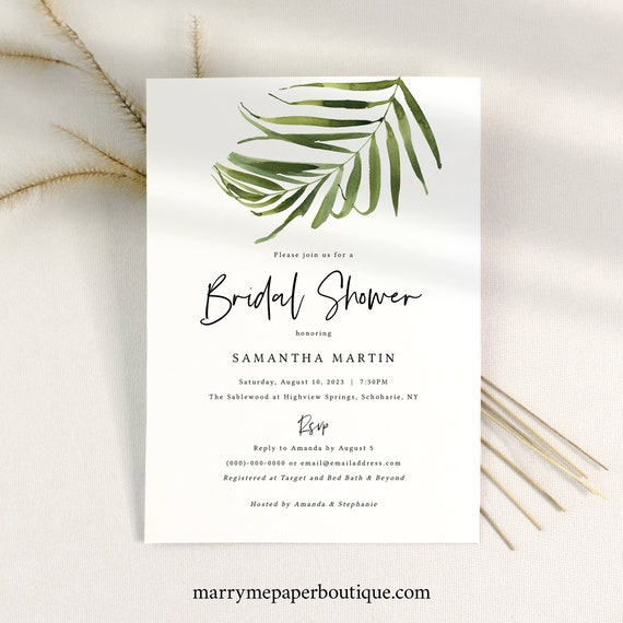 Tropical Bridal Shower Invitation Template, Greenery Bridal Shower Invite Printable, Instant Download, Templett, Editable
