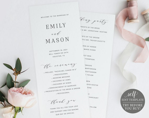 Wedding Program Template, Formal & Elegant, TRY BEFORE You BUY, 100% Editable Instant Download