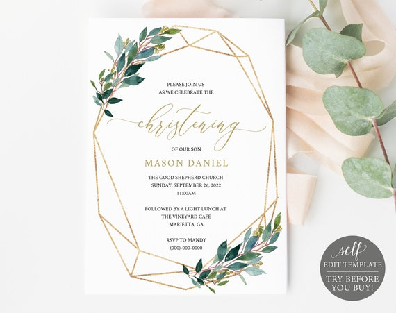 Christening Invitation Template, Editable & Printable Instant Download, Demo Available, Greenery Geometric