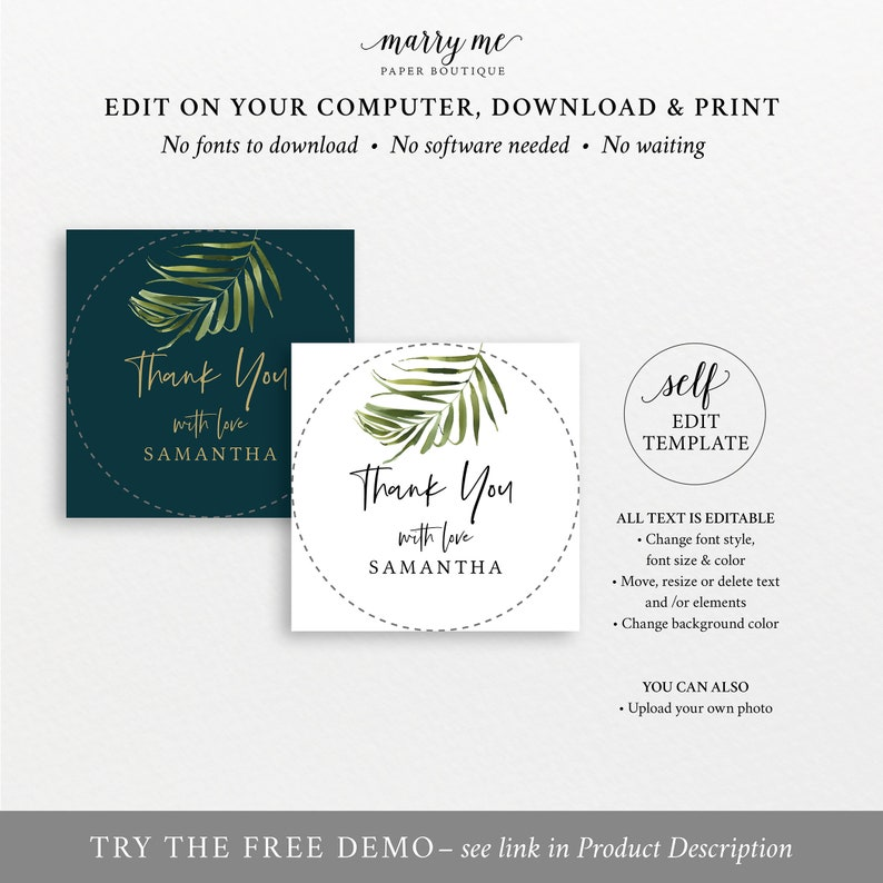 Printable Tropical Round Favor Tag Template Greenery Wedding Label Templett Instant Download