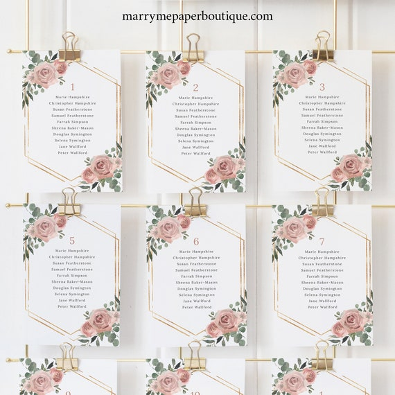 Seating Cards Template, Dusky Pink Floral, Printable Wedding Seating Chart Cards, Editable, Templett INSTANT Download
