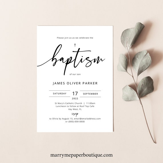 Baptism Invitation Template, Modern Calligraphy, Templett Instant Download, Editable & Printable, Try Before Purchase