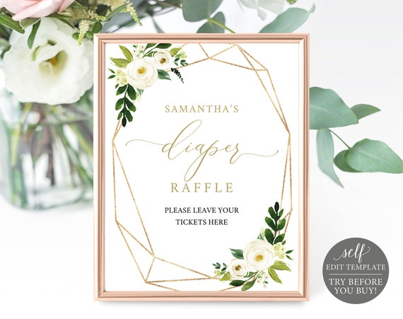 Diaper Raffle Sign & Ticket Templates, TRY BEFORE You BUY, White Floral, Editable Instant Download