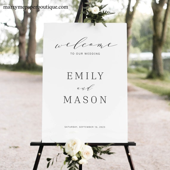Wedding Welcome Sign Template, Formal & Elegant, Welcome To Our Wedding Sign, Printable Poster, Templett INSTANT Download, Editable