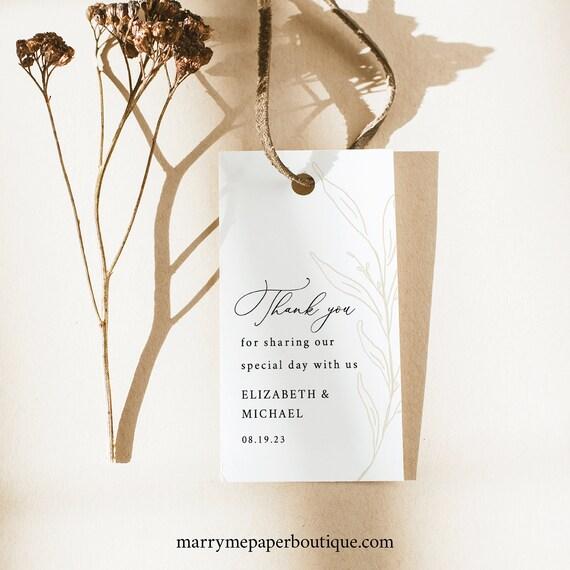 Wedding Favor Tag Template, Botanic Calligraphy, Wedding Tag, Printable, Editable, Rectangular, Gold Leaf, Templett INSTANT Download
