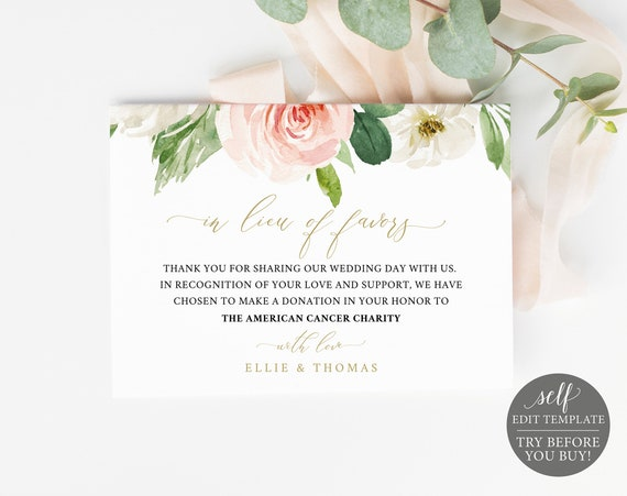 In Lieu of Favors Card Template, Editable Instant Download, TRY BEFORE You BUY, Blush Floral