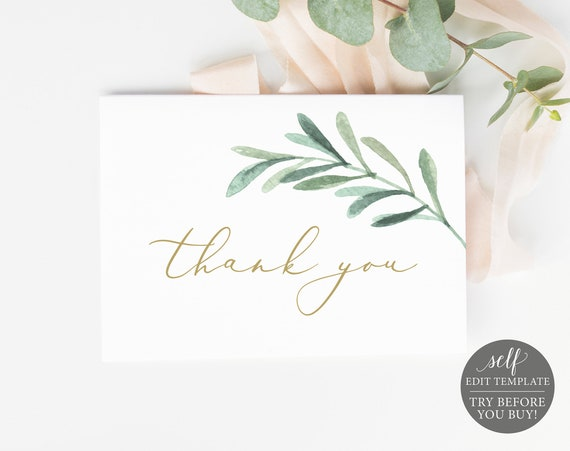 Thank You Card Template, TRY BEFORE You BUY, Editable Instant Download, Greenery Leaf