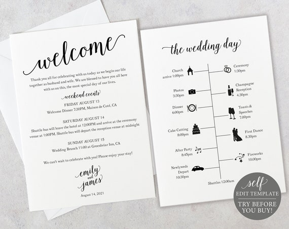 Wedding Itinerary Template, Modern Script, 100% Editable Instant Download, TRY BEFORE You BUY