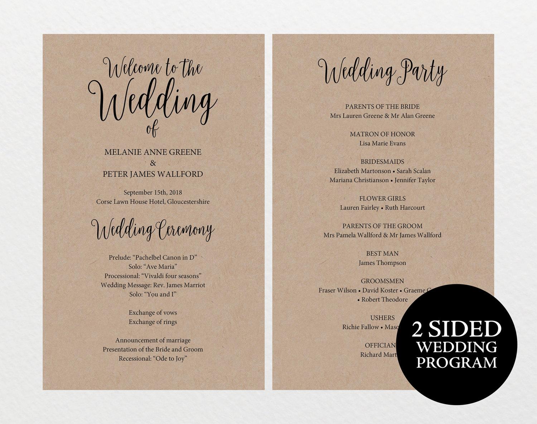 printable wedding program rustic wedding program editable program