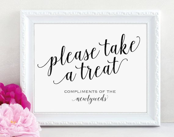 Please Take a Treat Sign, Newlyweds, Dessert Table Sign, Wedding Reception Sign, Wedding Printable, Table Sign, PDF Instant Download, MM01-1