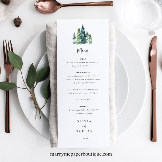 Pine Forest Menu Template, Rustic Pine Trees, Wedding Menu Printable, Templett, Editable, INSTANT Download