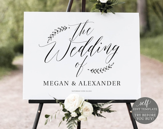 Wedding Welcome Sign Template, Rustic Editable Instant Download, TRY BEFORE You BUY