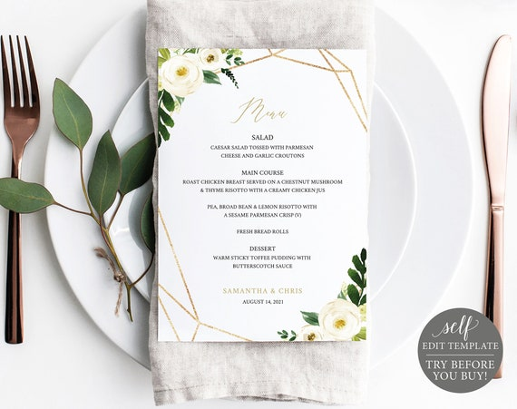 Wedding Menu Template, Editable Instant Download, White Floral Geometric 5x7, TRY BEFORE You BUY