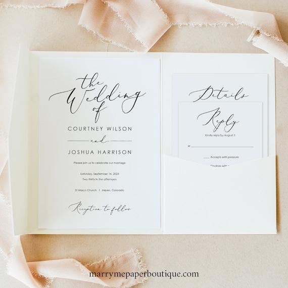 Wedding Invitation Template Set, Pocket Fold, Elegant Script, Templett, Editable, Invite Set Printable, INSTANT Download