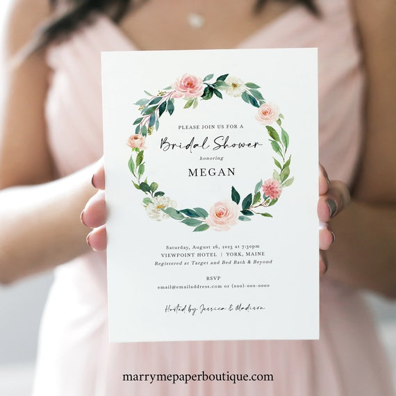 Bridal Shower Invitation Template, Blush Floral Greenery Wreath,  Bridal Shower Invite, Printable, Editable, Templett INSTANT Download