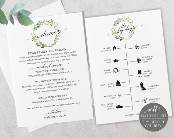 Wedding Timeline & Welcome Letter Template, 100% Editable Printable Itinerary, Welcome Bag Card, Order of Events, Greenery, Instant Download
