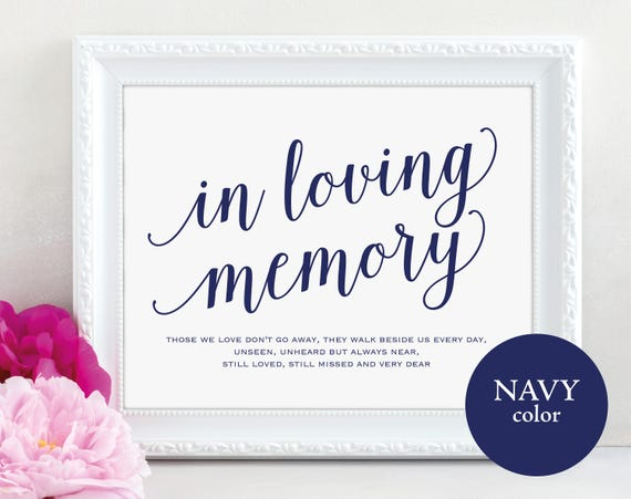 Navy In Loving Memory Sign, Wedding Poem, Wedding Sign, Memorial Sign, Loving Memory Sign, Wedding Printable, PDF Instant Download, MM01-4