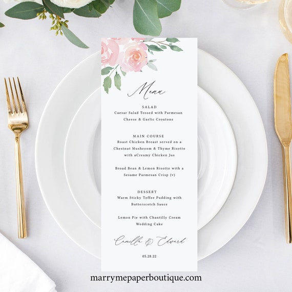 Menu Template, Elegant Blush Floral, Templett, Editable & Printable, Instant Download, Try Before Purchase