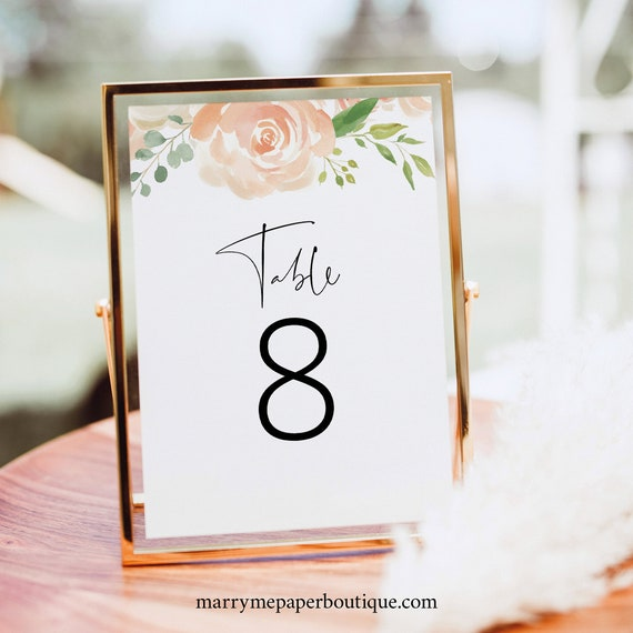 Table Number Template, Peach Floral, Editable Instant Download, TRY BEFORE You BUY