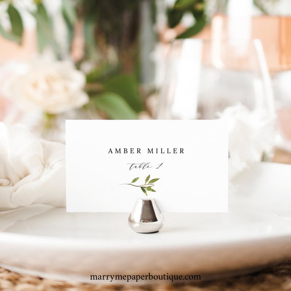 Greenery Wedding Place Card Template, Green Leaf,  Seating Card Printable, Templett Editable, Instant Download