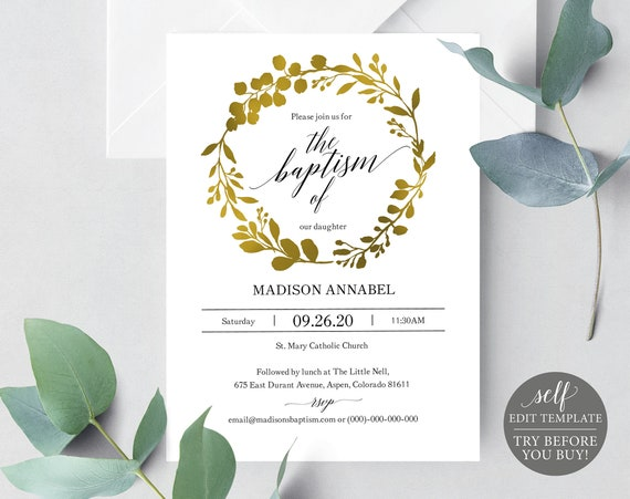 Baptism Invitation Template, TRY BEFORE You BUY, Editable Template, Faux Gold, Instant Download