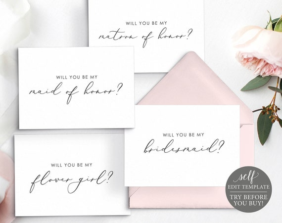 Will You Be My, Wedding Bundle Templates, Instant Download, Editable Calligraphy, TRY BEFORE You BUY