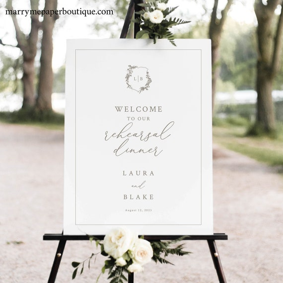 Rehearsal Dinner Welcome Sign Template, Botanical Crest, Rehearsal Sign, Printable, Fully Editable, Templett INSTANT Download