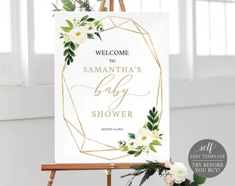 Baby Shower Welcome Sign Template, White Floral, Editable Instant Download, TRY BEFORE You BUY