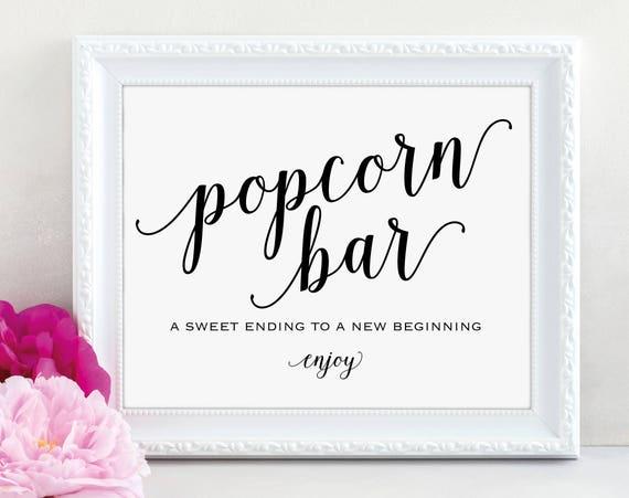 Popcorn Bar Sign, Popcorn Bar Printable, Sweet Ending, Wedding Sign, Wedding Printable, Popcorn Sign, PDF Instant Download, MM01-1