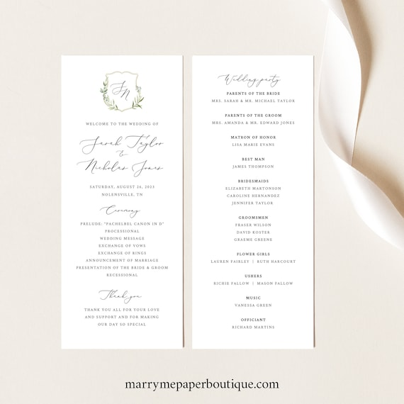 Wedding Ceremony Program Template, Greenery Wedding Crest, Printable Wedding Program, Templett INSTANT Download, Editable