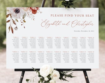 Fall Wedding Seating Chart Template, Fall Floral, Seating Plan, Printable, Editable Poster Sign, Templett INSTANT Download