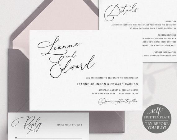 Wedding Invitation Template Suite, Minimalist Script, Editable & Printable Instant Download, Templett