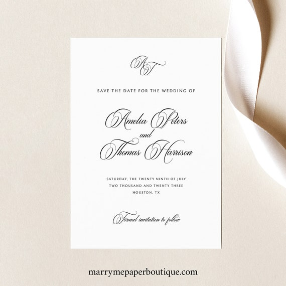 Save the Date Template, Traditional Wedding, Calligraphy Monogram, Save Our Date Card Printable, Templett INSTANT Download, Editable
