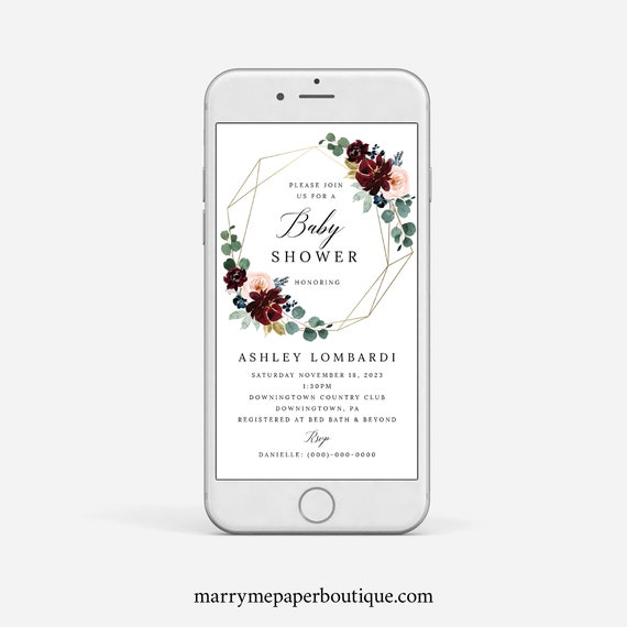 Baby Shower Text Invitation Template, Burgundy Floral Baby Shower Text Invite Template, Digital Electronic Invite, Templett Instant Download