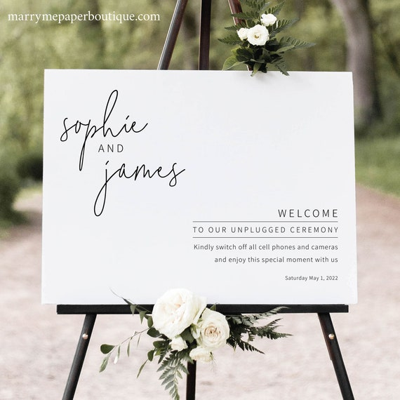 Unplugged Wedding Ceremony Sign Template, Minimalist Elegant, Editable & Printable Instant Download, Try Before Purchase