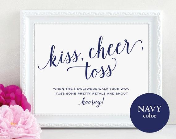 Navy Confetti Sign, Kiss Cheer Toss Sign, Petals Sign, Wedding Confetti Sign, Wedding Printable, Wedding, PDF Instant Download, MM01-4