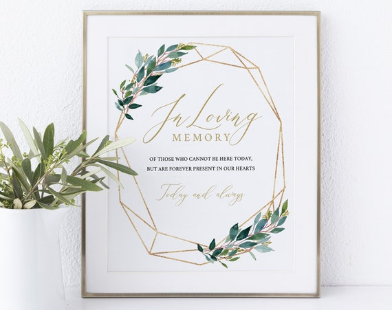 In Loving Memory Sign Template, Greenery Geometric, Instant Download Non-Editable