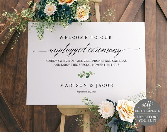 Unplugged Ceremony Sign Template, TRY BEFORE You BUY, Editable Instant Download, Greenery Leaf