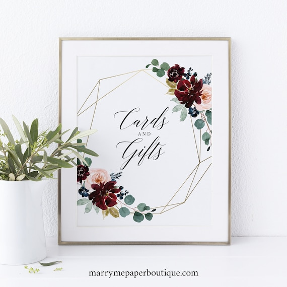 Cards & Gifts Sign Printable, Burgundy Floral, Wedding Sign, INSTANT Download, Non-Editable