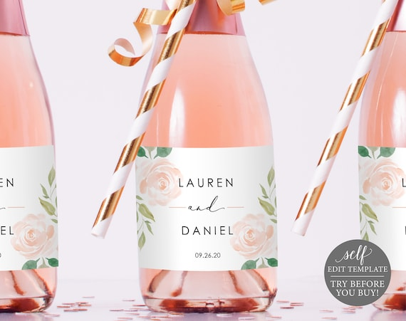 Champagne Bottle Label Template, TRY BEFORE You BUY, 100% Editable Instant Download, Blush Pink Floral
