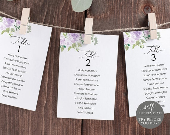 Wedding Seating Chart Template, Editable Instant Download, TRY BEFORE You BUY, Mauve & Lilac Floral