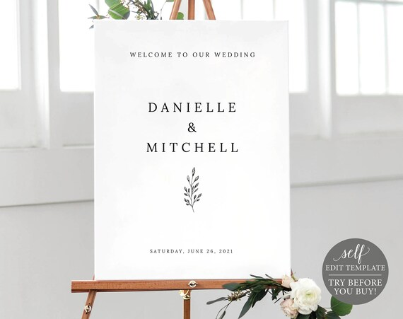 Wedding Welcome Sign Template, 100% Editable Instant Download, TRY BEFORE You BUY, Formal Botanical