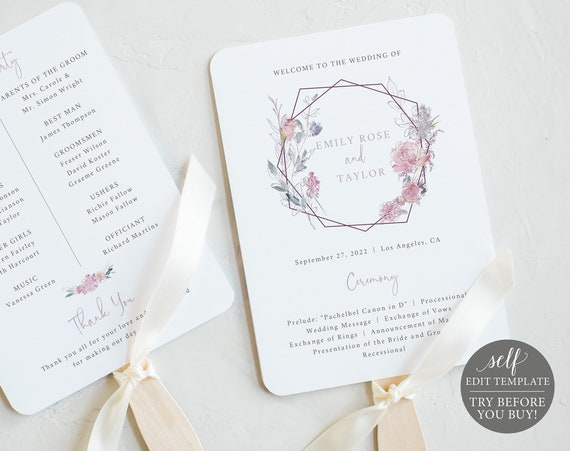 Wedding Program Fan Template, Pink & Lilac Floral, Editable Printable Instant Download, Templett, TRY BEFORE You Buy