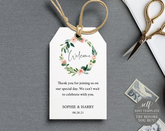 Wedding Favor Tag Template, Pink Floral Greenery, 100% Editable Instant Download, TRY BEFORE You BUY