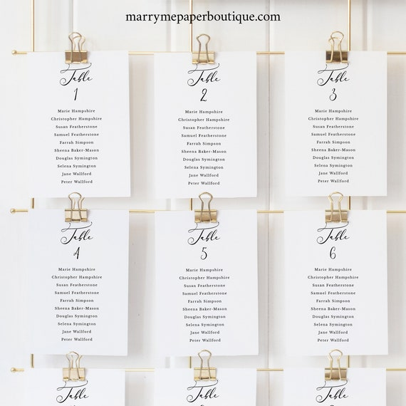 Calligraphy Wedding Seating Cards Template, Printable Seating Cards, Classic, Fully Editable, Templett INSTANT Download