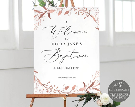 Baptism Welcome Sign Template, TRY BEFORE You BUY, Editable Instant Download, Rose Gold Foliage