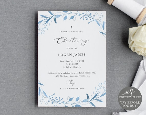 Christening Invitation Template, Blue Foliage, Editable & Printable Instant Download, Demo Available