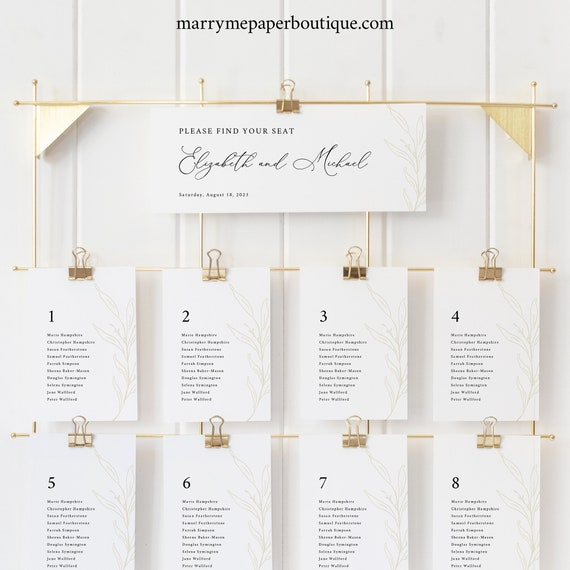 Seating Chart Cards Template, Header Card, Botanic Calligraphy, Wedding Seating Cards, Printable, Gold Leaf, Templett INSTANT Download