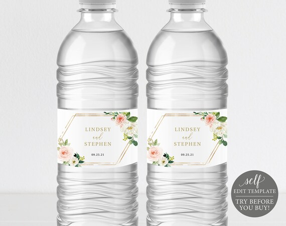 Water Bottle Label Template, Blush Floral Hexagonal, Editable Instant Download, TRY BEFORE You BUY