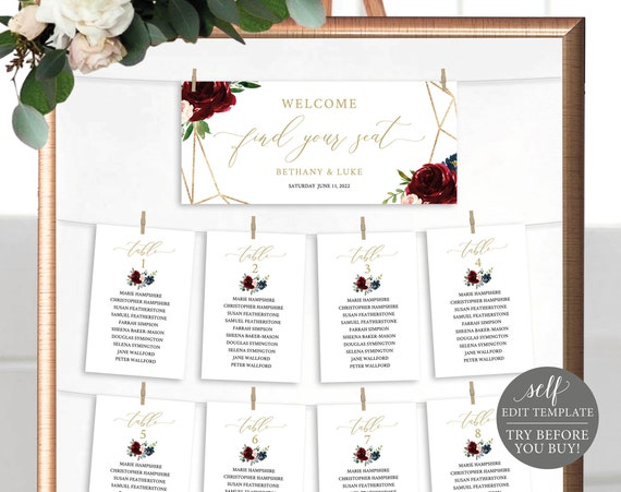Wedding Seating Cards Template, Burgundy Geometric, Demo Available, Editable & Printable Instant Download, Templett